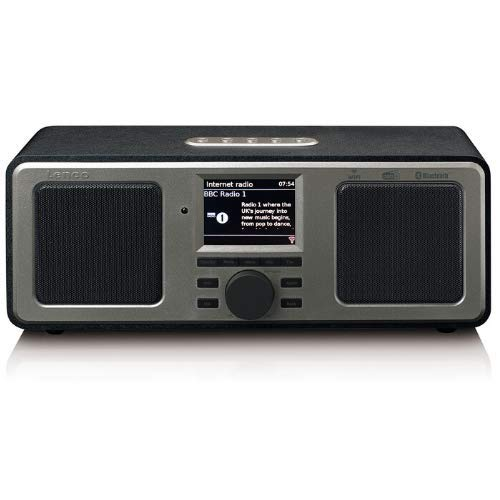 "Lenco DIR-165 Internetradio mit W-LAN - Digitalradio mit Bluetooth und Wi-Fi - DAB+ / FM Radio - 2,4"" Farbdisplay - AUX - Weckfunktion - App Steuerung via Undok - 16 Watt RMS - Schwarz"