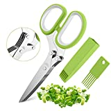 Herb Scissors Set with 5 Blades and Cover - Multipurpose Kitchen Chopping Shear, Sharp Dishwasher Safe Kitchen Gadget, Ideal for Cutting, Vegetables, Basil, Stainless Steel - Green