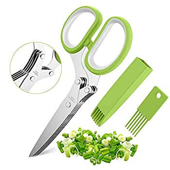 Herb Scissors Set with 5 Blades and Cover - Multipurpose Kitchen Chopping Shear Sharp Dishwasher Safe Kitchen Gadget Ideal for Cutting Vegetables Basil Stainless Steel - Green