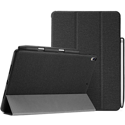 "ProCase iPad Pro 10.5"" (2017) 保護ケース 超薄型 スリム フォリオカバー Pencil ホルダー付き 対応機種: iPad Pro 10.5"" 2017(A1701 A1709 A1852)、 iPad Air 3世代 2019(A2152 A2123 A2153 A2154) -ブラック"