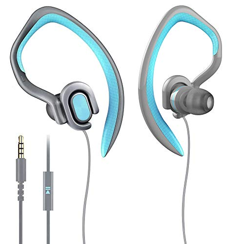 MUCRO Sport Headphones Wired Earhook,Sweatproof Over Ear Earbuds with Microphone Stereo Noise Isolating Headsets for Running Gym Workout(Blue)