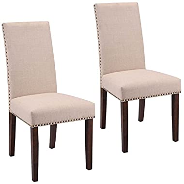 Giantex Set Of 2 Fabric Upholstered High Back Dining Chairs Armless Home Furniture