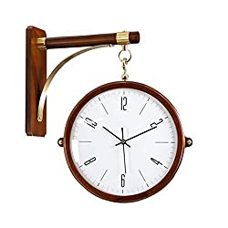 Double Sided Wall Clock, Vintage Solid Wood Wall-Mounted Clock with Waterproof Cover for Indoor & Garden, Hanging Décor (Color : A)