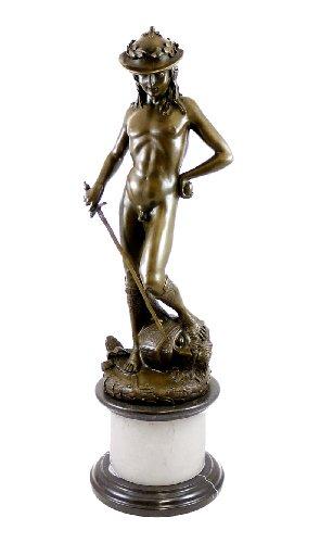 Kunst & Ambiente - David von Donatello - Männlicher Akt - Bronzedavid - Frührenaissance - Bronzestatue - Bronzeplastik - Skulptur - Deko Figur in Bronze - Wohndeko
