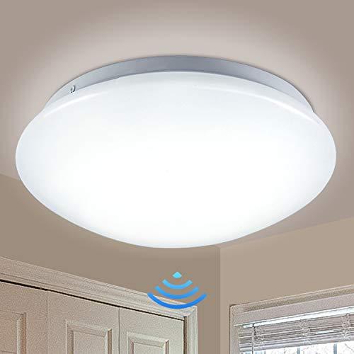 Hengda LED Deckenleuchte mit Bewegungsmelder, 12W LED Deckenlampe mit Bewegungssensor, 960LM 2700K Warmweiß, IP44 Wasserdicht, für Garage, Flur, Treppe, Veranda, Balkon, Bad, Keller