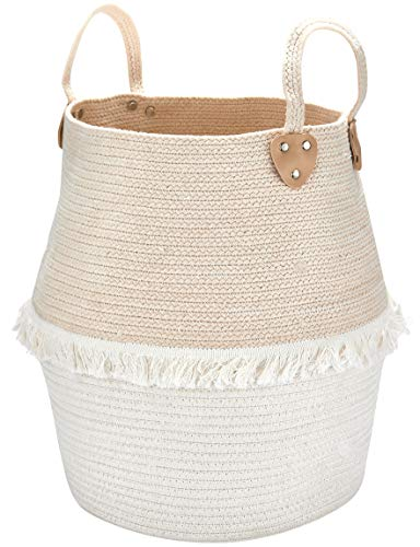 Rope Basket Woven Storage Basket - Laundry Basket Large 16 x 15 x 12 Inches Cotton Blanket Organizer, Baby Nursery Containers White Home Decor Gift