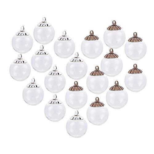 PandaHall Elite 30pcs Klar Runde Glaskugel Perlen und Messing Braun/Silber Bails Caps Für Glaskugel Flasche DIY Anhänger Machen, Ball Durchmesser 16mm