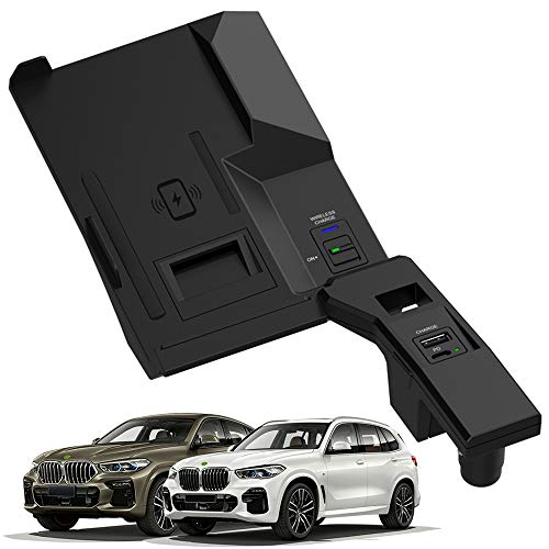 Nuova Caricatore Wireless Auto per BMW X5 X6 X5M X6M 2019 2020 2021 Pannello Accessori Console Centrale 15W Qi Rapida Ricarica Telefono Padcon USB e PD 18W per iPhone 12/11/X Samsung S20/S10