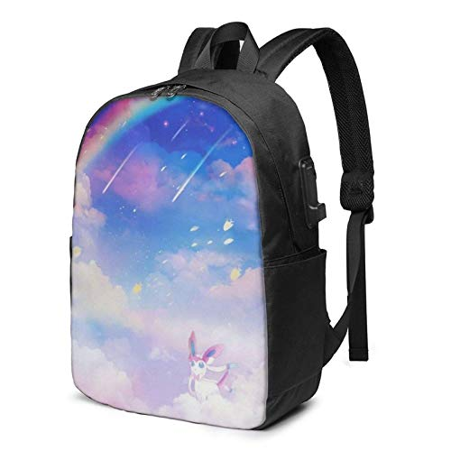 Eevee Under The Laptop Backpack- with USB Charging Port/Stylish Casual Waterproof Backpacks Fits Most Laptops and Tablets