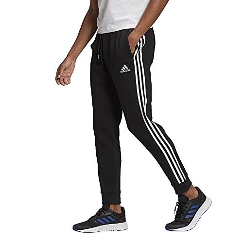 adidas Men's Standard Essentials Fleece Tapered Cuff 3-Stripes Pants, Black/White, XX-Large
