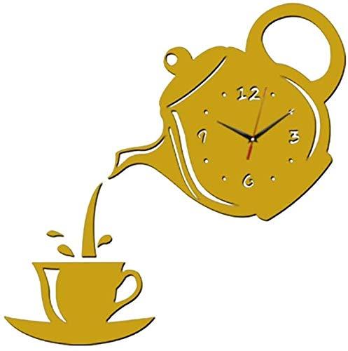Pegatinas de reloj de pared 3D con números romanos DIY Relojes tranquilos de acrílico creativo, etiqueta engomada autoadhesiva moderna Tetera de la sala de estar etiqueta decorativa reloj de pared par