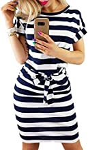 PRETTYGARDEN Ladies Basic Crewneck Belted Office Dress with Pockets Solid Color Summer Short Sleeve Party Slim Dress