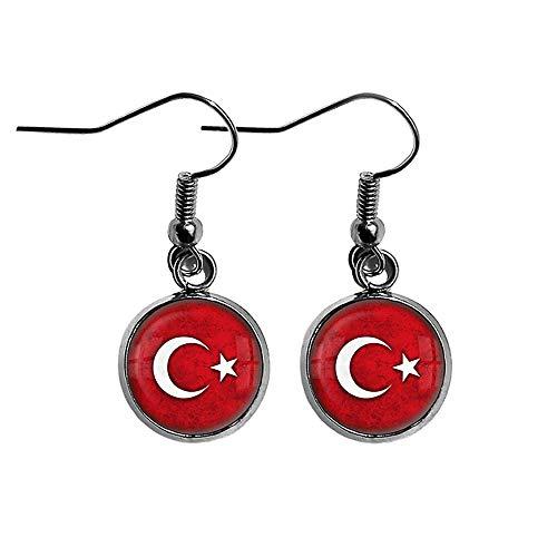 Turkey Turkish Flag Türkische Flagge der Türkei Chirurgenstahl Ohrringe