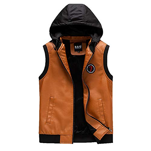 Heren vest gewatteerde outdoor vest met capuchon Fashion Warm Lederen Gilet herfst winters zacht outdoor vest