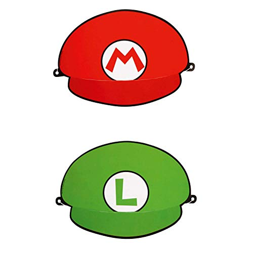 Amscan 9901544 - Partyhüte Super Mario, 8 Stück, Größe 18,1 x 12,4 cm, 2 Motive sortiert, Grün, Rot, Luigi, Papierkappe, Give Away, Geburtstag, Karneval, Kinderparty, Mottoparty, Überraschung