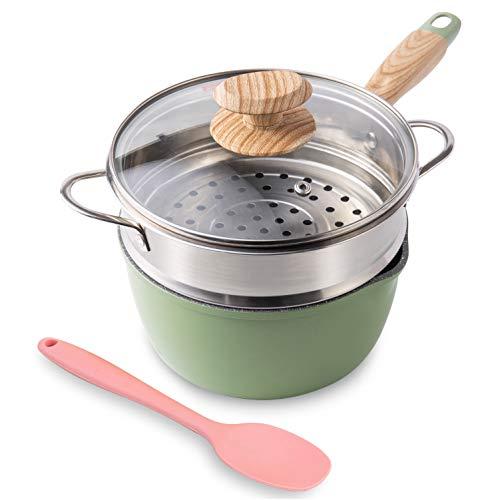 Saucepan with Steamer, ROCKURWOK Nonstick Sauce...