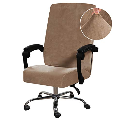 Velvet Office Chair Cover Stretch Computer Desk Chair Slipcover Universal Executive Boss Chair Cover Anti-Dust Removable Rotating Swivel Slipcover Machine Washable High Back Oversized, Camel
