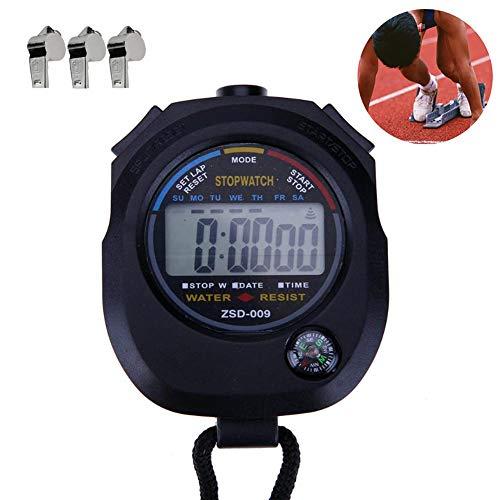 Ebestus Digitale Cronometro Sport Professionale con Fischio, Palmare Impermeabile LCD Contatore Sportivo Cronografo Timer per Palestra, Arbitri, Coaches (Batteria Inclusa)