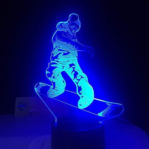 3D Snowboard Lampe Led Nachtlicht Mit Fernbedienung, 7 Farben Wählbar Dimmbare Nachttisch Nachtlampe Geburtstag Geschenk, Spielzeug Geschenke Für Männer Frauen Kinder