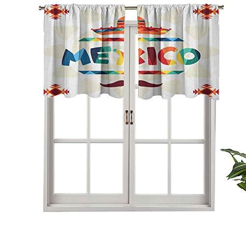 Hiiiman Cortinas cortas opacas con bolsillo para barra, diseño azteca tradicional de México, sombrero de paja, bigote, juego de 2, cenefas pequeñas de media ventana de 137 x 91 cm para dormitorio