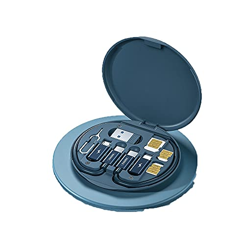 Caja de cable de carga múltiple 7 en 1 Cable de carga múltiple Caja de cable USB con conector micro USB tipo C Lightning para iPhone, Android Galaxy, Huawei, Nexus, Nokia, LG, Sony (azul)
