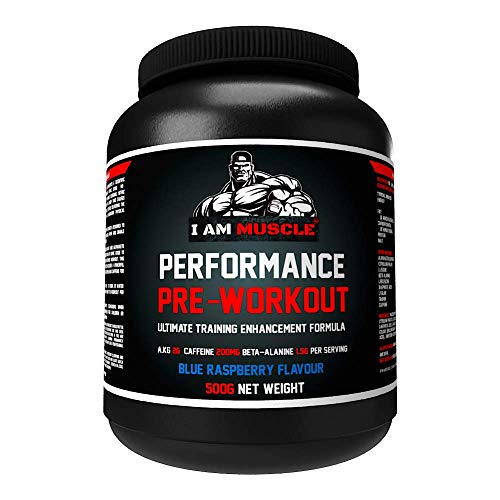 Performance Pre Workout, Ultimate Training Enhancement Formula with 200mg Caffeine, 6.9g Protein, Beta-Alanine and Amino Acids, Blue Raspberry, 500g