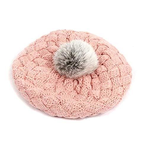 YaptheS Chic niños boina estilo de la manera Gorros para niños Cap magnífico Hilados de lana sombrero de Cuidado rosa de las muchachas por su hijo