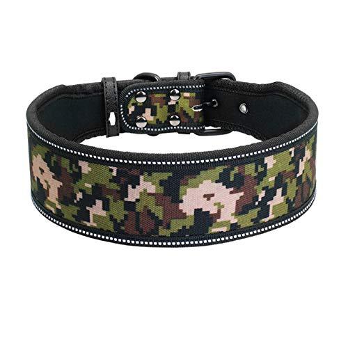 YXDZ Collar De Perro De Nylon Reflectante Collares para Mascotas Ajustables para Perros Medianos Grandes Pitbull Pastor Alemán SML
