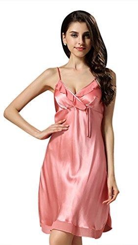 BININBOX Damen Edles Nachthemd aus Seide 100% Silk Nachtkleid Nachtwäsche mit Spagetti-Trägern Sexy Negligee (38, Pink)