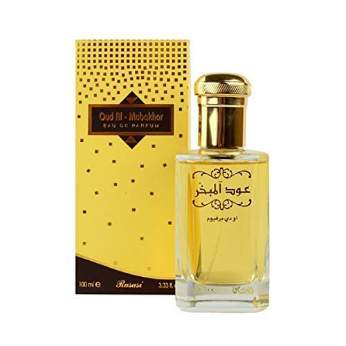 Eau de parfum unisexe Oudh Al Mubakhar - 100 ml - Caractéristiques : bergamote, rose turque, safran, bois de santal et musc - Mélange parfait - Par Rasasi