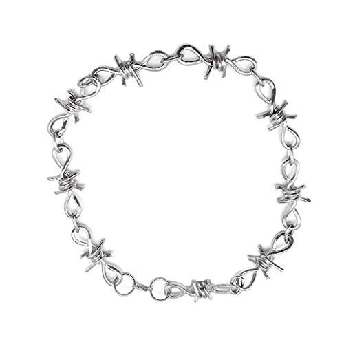 Juego de Cadena de la Pulsera del Collar Conijiwadi Hombres Mujeres Barb Wire Set Estilo gótico Punky de Alambre de aleación de zarzas Collar de la muñeca