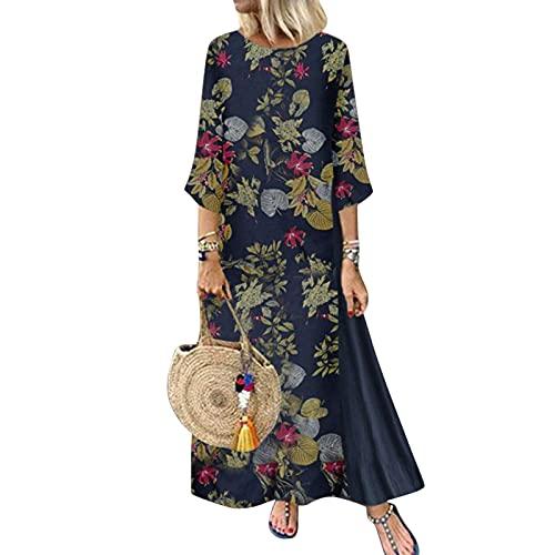 Vestido maxi elegante de manga larga para mujer, estilo vintage, estampado suelto,...