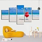 NIEMENGZHEN Arte de Pared Impresiones en HD póster Moderno 5 Set Verano Playa Arena Chica Vista al mar decoración del hogar Lienzo Pintura Pasillo Imagen Modular