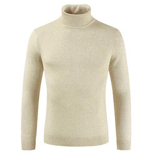Ropa de los hombres de cuello alto suéter de color sólido suéter camiseta de los hombres desgaste