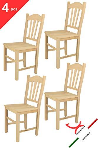 Tommychairs 4er Set Stühle Silvana im klassischen Stil, robuste Struktur aus poliertem Buchenholz, unbehandelt und 100{13ef152dc547dfc00bb129184c05f328b45cf6274bdab83f19607333b53f1039} natürlich, im natürlichen Farbton und mit Einer Sitzfläche aus poliertem Holz