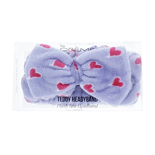 The Crème Shop Korean Skincare Beauty Facial Sweat Hair Towel, Non-slip Stretch Comfortable Wrap Band Adhesive Makeup Wash Spa Elastic - Lavender Purple Teddy Headyband with Pink Hearts