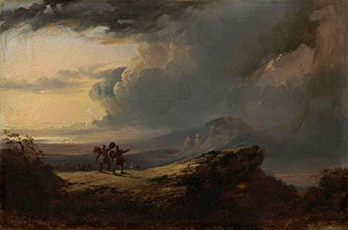Macbeth e as Três Bruxas (1820) de John Martin - 50x75 - Tela Canvas Para Quadro
