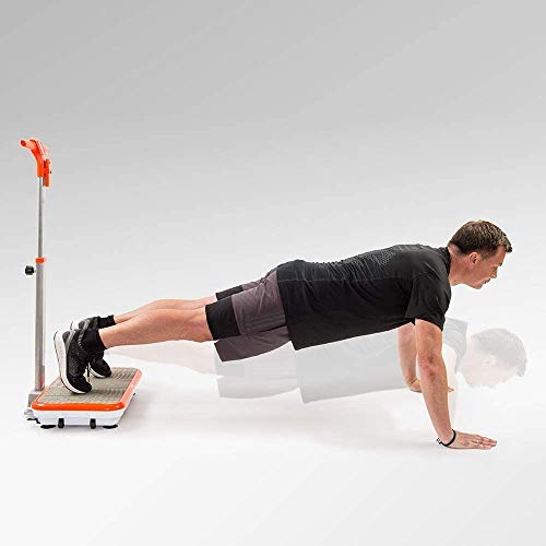 Mediashop VibroShaper – Fitness Vibrationsplatte unterstützt bei Muskelaufbau und Fettverbrennung – Vibrationstrainer für alle Muskelgruppen – inklusive Fitnessbänder – orange mit Griff - 3