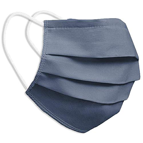Behelfsmaske Alltagsmaske Community-Maske - Farbe Jeans-Blau - mehrfach verwendbar (waschbar) - mit Nasenclip - Behelfsmundschutz Mundbedeckung Spuckschutz