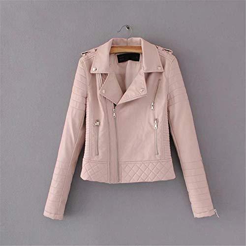 XL_nspiyi Damen Leder mit diagonalem Reißverschluss, pink_L
