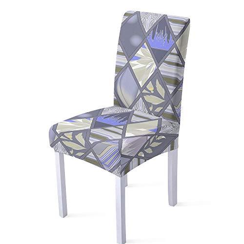 XIAOBAOZI ZS Stuhlhussen Stretch Hohe Rücken Stühle Stuhl Abdeckung,Druck Blau Grau Geometrische Marmor Muster Stuhl Protector Fall Für Wohnzimmer Esszimmer Büro Weihnachten Dekor,Set Von 6