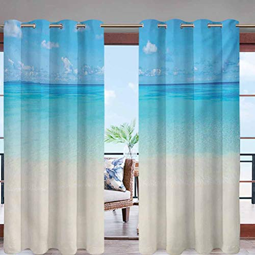 Grommet Modern Print Outdoor Window Curtains Paradise Beach in Tropical Caribbean W96 x L108 for Patio, Pergola, Porch, Deck, Lanai, Garden and Cabana