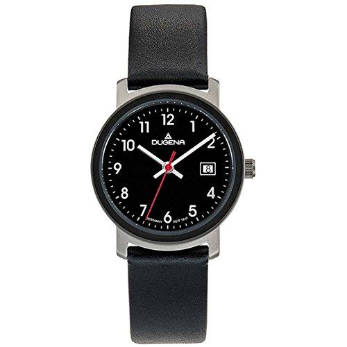 Dugena Damen Armbanduhr Nero Leder 27mm schwarz/grau