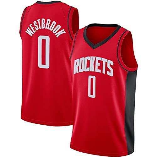 BPZ Camiseta de Baloncesto de la NBA para Hombre - NBA Russell Westbrook 0# Camisetas de Baloncesto de Houston Rockets - Camiseta Deportiva sin Mangas Transpirable de Ocio,1,S (165~170CM / 50~65KG)