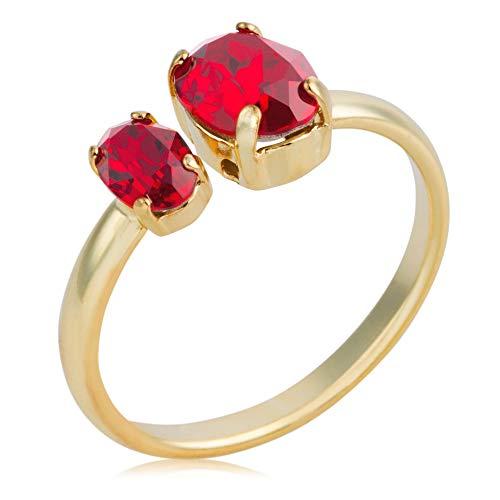 Córdoba Jewels | Sortija en plata de ley 925 bañada en oro con cristales by Swarovski con diseño Doble Oval Swarovski Rubí Gold