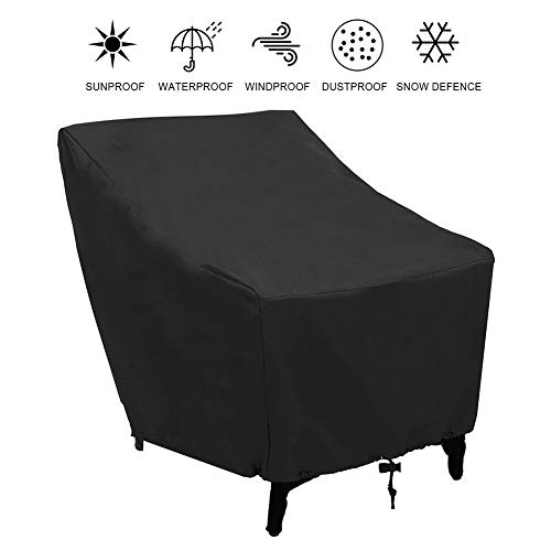 Outdoor Chair Cover, Waterproof Dustproof And UV Resistant Garden Furniture Chairs Cover, for Garden Chairs(Black)