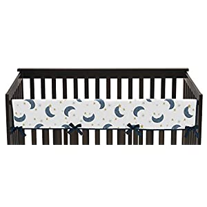 Sweet Jojo Designs Moon and Star Boy or Girl Long Front Crib Rail Guard Baby Teething Cover Protector Wrap – Navy Blue and Gold Watercolor Celestial Sky