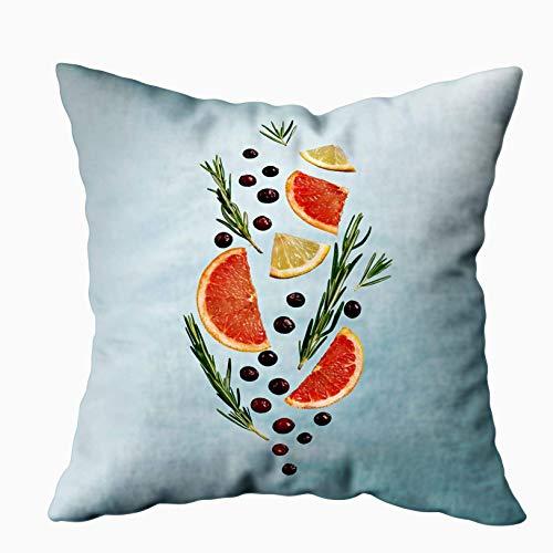 NA Weihnachten Kissenbezüge, Sommer Essen und Trinken Obst Limonade Muster aus Grapefruit Zitrone Rosmarin Cranberry Splash Form mit für Sofa Home Dekorative Kissenbezug 45 X 45 cm Kissenbezüge