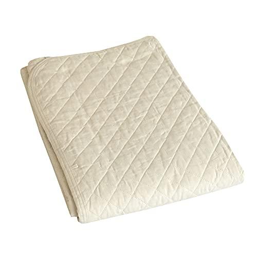 西川 麻敷きパッド シングル 100×205cm 両面使える 表地中綿麻100% 裏地綿100% RP-6078S アイボリー