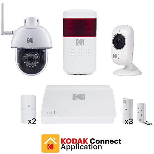 KODAK PROTECCIÓN PLATINE Sistema de Alarma para Casa con 2 Camaras de Vigilancia, Sirena y Accesorios - Kit de Alarma Sin Cuotas con Cámaras de Seguridad Full HD